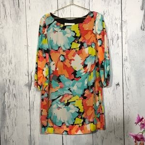 Trina Turk 100% Silk Shift Multicolor Dress Sz L